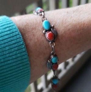 VTG Turquoise Coral Sterling Silver Bracelet